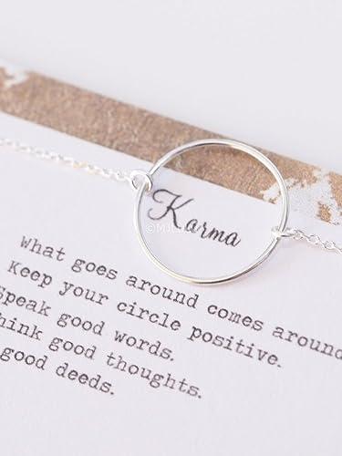 Simple Minimal 20 Mm Karma Circle Sterling Silver Bracelet