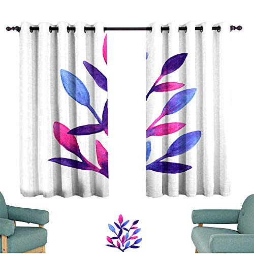Thermal Curtains Simple and cute floral pattern Pink blue and violet spring leaves hand painted with watercolor Nature drawing leaf on isolated white background Art bright backdrop Beautiful colors b