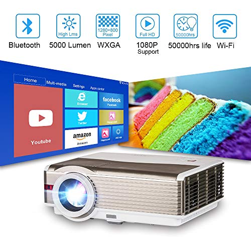 EUG 5000 Lux Brightness Smart Android Bluetooth HD Projector Home Theater 1080P Outdoor Entertainment Video Projectors Digital TV Multimedia HDMI USB VGA