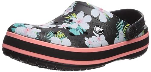02d7d86dc67 Crocs Crocband Seasonal Graphic Clog - Black floral - 37  Amazon.com ...