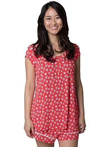 Kindred Bravely Amelia Ultra Soft Maternity & Nursing Pajamas - Shorts Set (Hearts, X-Small)