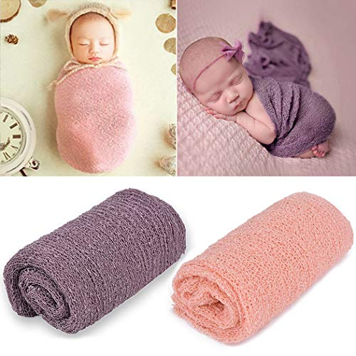 Aniwon Newborn Photography Props, Baby Photo Props Long Ripple Wraps Blanket Wraps for Baby Boys Girls (Pink & Purple)