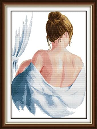 Happy Forever Cross Stitch Kits 11CT Stamped Patterns for Kids and Adults Elegant Ladies Preprinted Embroidery kit for Beginner R059 Body Painting, Size 18x27