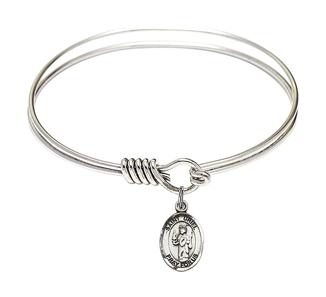 DiamondJewelryNY Eye Hook Bangle Bracelet with a St Uriel The Archangel Charm.