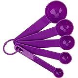Holdream 5pcs / Set de medición Cuchara Conjunto café té Herramienta de medición de plástico (Purple)