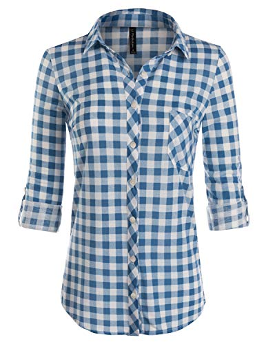 JJ Perfection Womens Long Sleeve Collared Button Down Plaid Flannel Shirt WHITEBLUE -