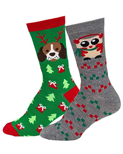 Mens & Womens Fun Novelty Holiday Christmas Hanukkah Crew Socks-2 Packs- One Size Fits Most (One Size Fits Most (Shoe-4-10), 2 Pair Crews Puppy Reindeer/Owl with -