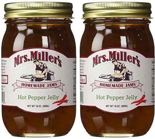 Mrs. Miller's Amish Homemade Hot Pepper Jelly - 18 oz (2 JARS)- Sweet & Spicy - Great Marinade!