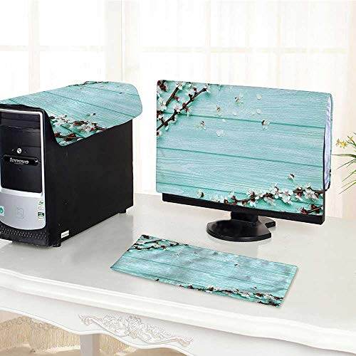 Flat Screen Protector 3 Pieces Petals Branch on Planks Seasonal White Brown Seafoam Anti-Static Vinyl /29