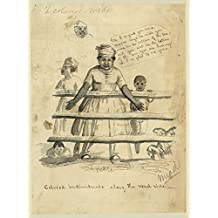 """1844 Photo Colored individuals along the road side Drawing shows an African American slave woman leaning against a split rail fence along with three children. She says, """"Oh I so glad you come, 'massa"""