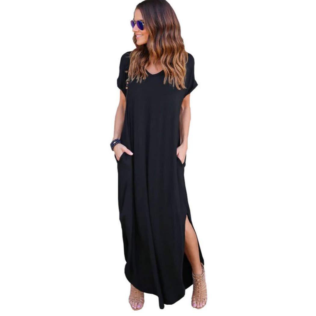 COSYOU Womens Loose Summer Beach Gallus Short Sleeves Floor-Length Long Dress Short Sleeve Dress Shirt (Black, XXL)
