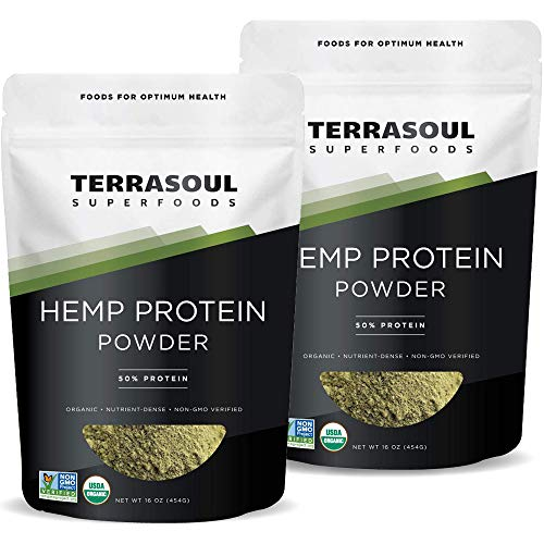 Terrasoul Superfoods Organic Hemp Protein Powder 50 Protein , 2 Pounds