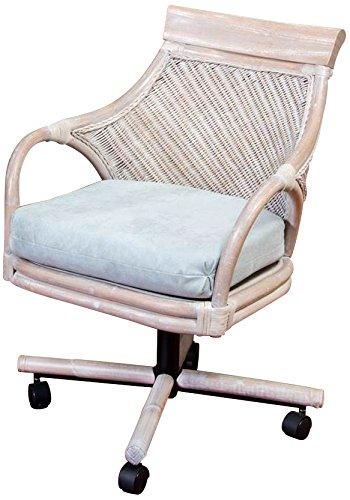 Alexander & Sheridan BER011-RWD-MSF Bermuda Tilt Swivel Caster Chair in Rustic Driftwood Finish, Montana Surf