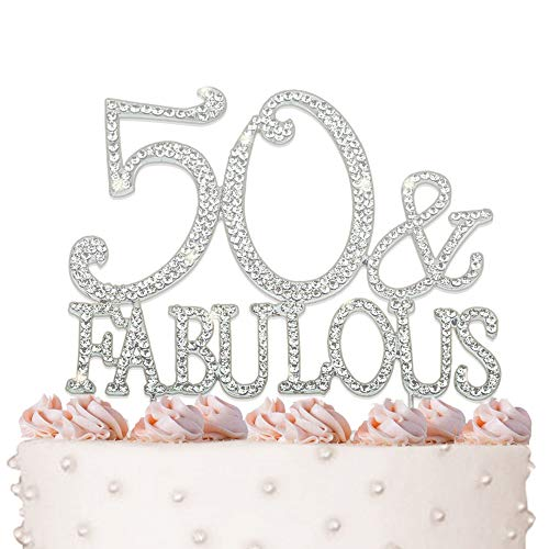 50 & Fabulous, Birthday Cake Topper, Crystal Rhinestones on Silver Metal, Party Decorations, Favors