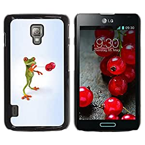 Paccase / SLIM PC / Aliminium Casa Carcasa Funda Case Cover - d funny frog lyagushka - LG Optimus L7 II P710 / L7X P714