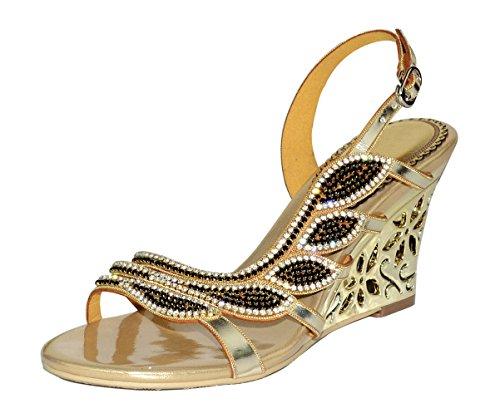 Honeystore Women's Leaf Shaped Rhinestone Handmade Wedge Sandals Gold 8.5 B(M) US (Leaf Shaped Rhinestone)