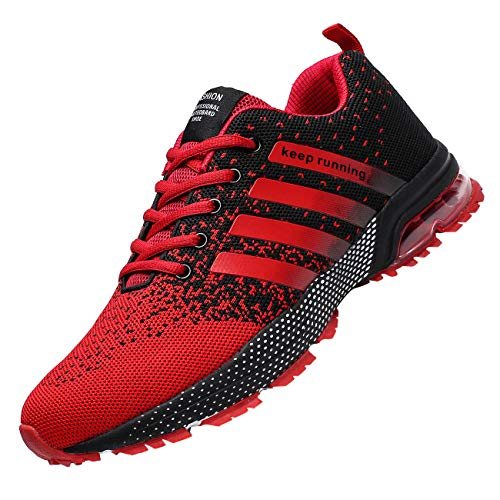 Chopben Mens Running Shoes Air Cushion Fashion Breathable Sneakers Lightweight Tennis Sport Casual Walking Athletic for Men Outdoor (8, 3-Red)
