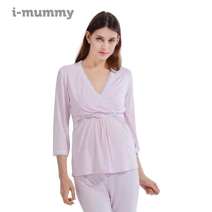 i-baby Camisón Lactancia Amamantando Conjunto de Pijamas Mujer Embarazada de Manga Larga y Pantalon