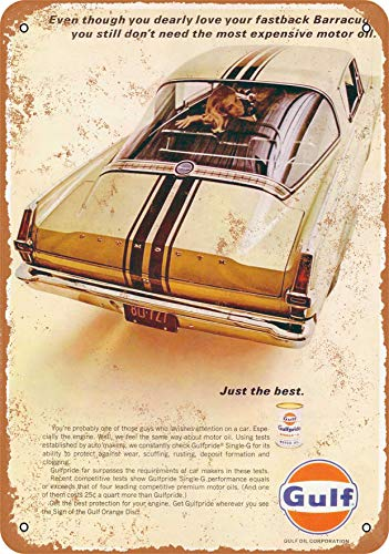 (Wall-Color 7 x 10 Metal Sign - 1966 Gulf Motor Oil for Plymouth Barracuda - Vintage Look)
