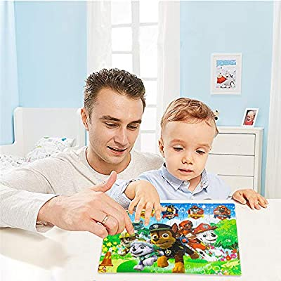 100 Piece Paw Patrol Puzzles for Kids Ages 4-8 Jigsaw Puzzle for Children Learning Education Metal Box: Toys & Games