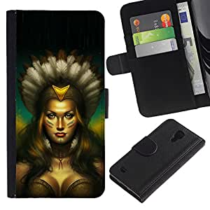 SAMSUNG Galaxy S4 IV / i9500 / SGH-i337 , la tarjeta de Crédito Slots PU Funda de cuero Monedero caso cubierta de piel ( Native Indian Woman Sexy Amazon Boobs)