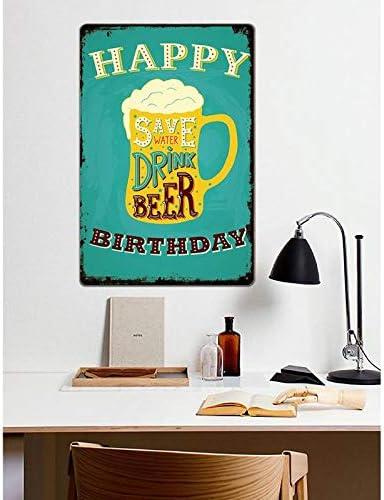 1x Creativo Birra Targa in Metallo di Boccale Pieno di Birra con Parola Save Water Drink Beer Wall placca Poster per Bar Pub Ristorante e Pranzo allaperto 20x30cm pubblicit/à Bar Serie iTemer