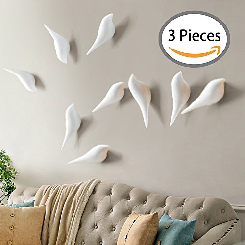 Polyresin Bird (YOHEE 3D Creative Wall Decoration Bird Mural Bedroom Door Hooks Coat Hooks Single Hooks Wall Hanger (White - 3 Pcs))