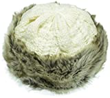 (US) Hand By Hand Aprileo Women's Knitted Hat Faux Fur Lined Trim Cable Winter Beanie [Ivory](One Size)