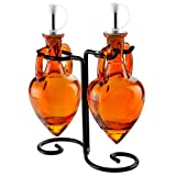 Oil & Vinegar Cruet, Olive Oil Bottle Dispenser or Glass Soap Bottle Dispenser G225F Orange Amphora Style Glass Bottle Set with Stainless Steel Pour Spouts & Corks. Black Metal Vintage Stand Included.