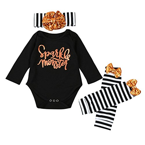 Halloween Baby Girl Clothes, Leewa@ 3PCS Toddler Kids Letter Romper Tops+Leg Warmer Outfits Set (6 Months, Black)