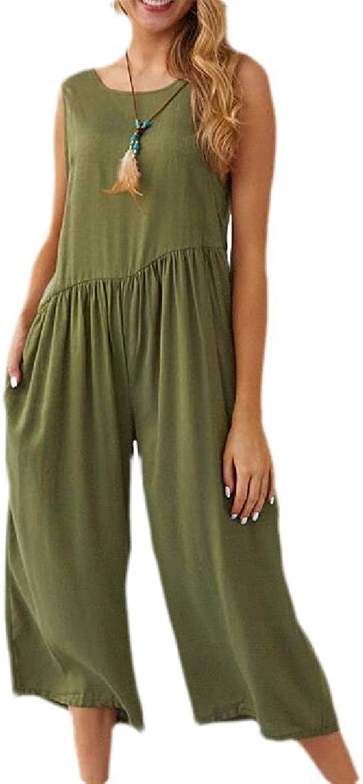 Rrive Womens Backless Chiffon Sleeveless Wide Leg Rompers Jumpsuit with Pockets