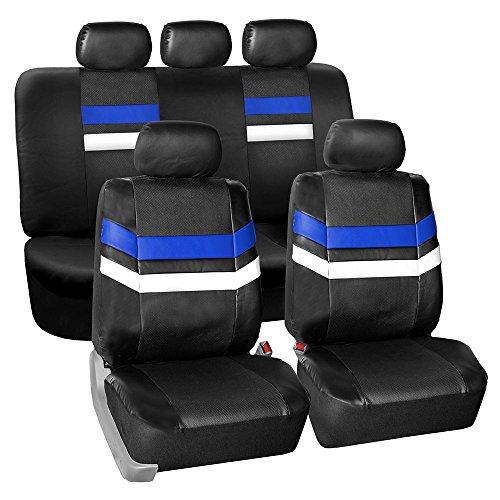 Color Split Pu Leather - FH GROUP PU006115 Varsity Spirit PU Leather Seat Covers, Airbag & Split Ready, Blue / Black Color