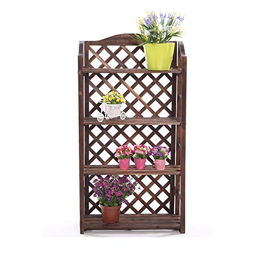 (Flower Stand Wooden Flower Stand Plant Display Rack Storage Rack Outdoor Indoor with Reinforced Base Bar Sturdy Plant Shelf for Home Garden Patio (Color : Carbonization, Size : Five Layers))