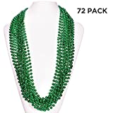 (72 Pack) 33'' Inch Round Metallic Mardi Gras St Patricks Party Necklace Beads (Green)
