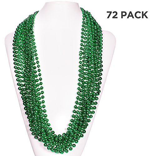 (72 Pack) 33 Inch Round Metallic Mardi Gras St Patricks Party Necklace Beads (Green)
