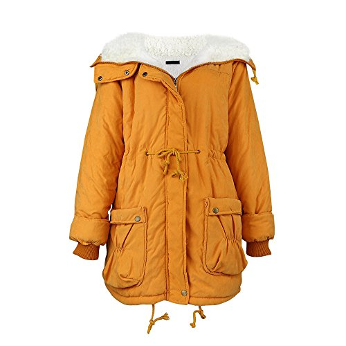 Winter Outwear Coat Size Slim Winter Wadded Plus New Womens Warm Jacket Long Khaki Drawstring Medium DOLDOA pqTfFW4W