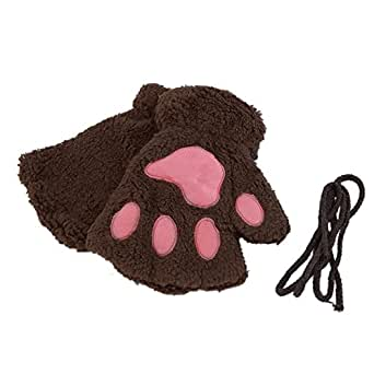 sofe women winter claw gloves fluffy bear paw. Black Bedroom Furniture Sets. Home Design Ideas