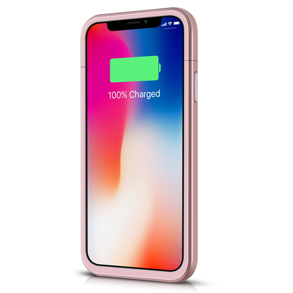 5.8inch 5200mAh Rechargeable Portable Charger Case Extended Charging Case for iPhone X//XS//10 Battery Case for iPhone X//XS//10, Protective Power Battery Pack -Rose Gold Upgraded