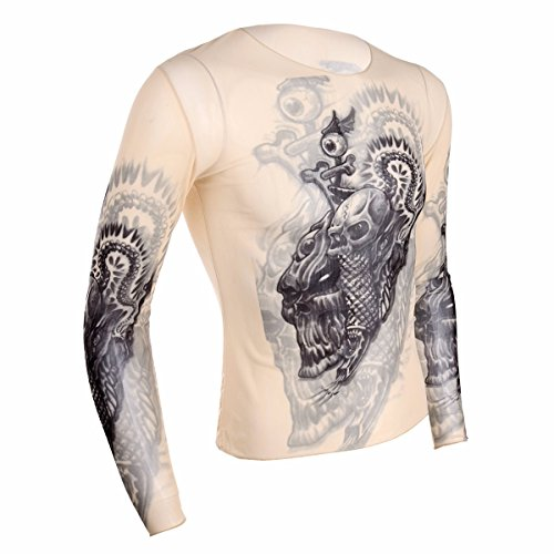 FEESHOW Men's Tribal Tattoo Inspired Print Long Sleeve Halloween T-Shirt Tops Nude Black #3 One (Costume Ideas For Three People)