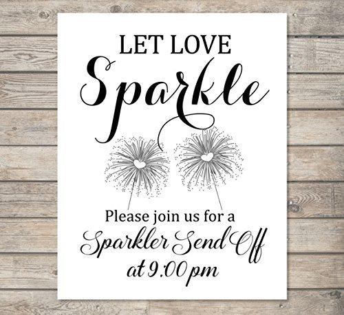 Amazon Com Custom Let Love Sparkle Wedding Sparkler Send Off Sign