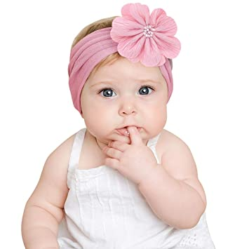 New Baby Toddler Girl Cute Bow Cotton Turban Headband Hair Band White One Size