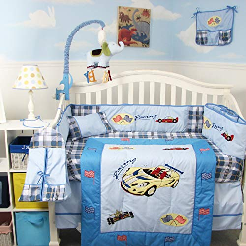 New Zoom Zoom Race Car Baby Crib Nursery Bedding Set 13 pcs included Diaper Bag with Changing Pad & Bottle - Car Crib Race Set Bedding
