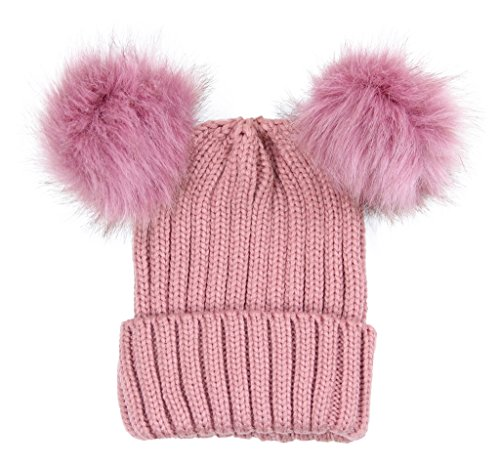 Fashion Love Double Pom Pom Solid Color Cable Knit Warm Winter Stretch Cap Super Soft (Dusty Rose Pink) (Super Stretch Knit Hat)