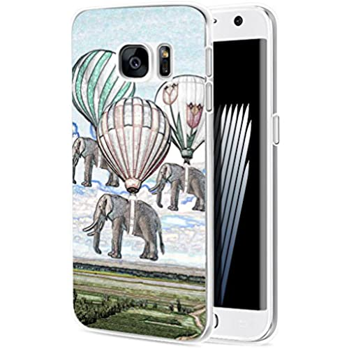 S7 Edge Case Elephant/ IWONE Samsung Galaxy S7 Edge Case Tpu Skin Cover Protective Rubber Silicone + Creative Elephant Vintage Paintings Print Animal Sales