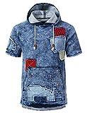 URBANCREWS Mens Hipster Hip Hop Patched Denim Short Sleeve Hoodie LtBlue, M