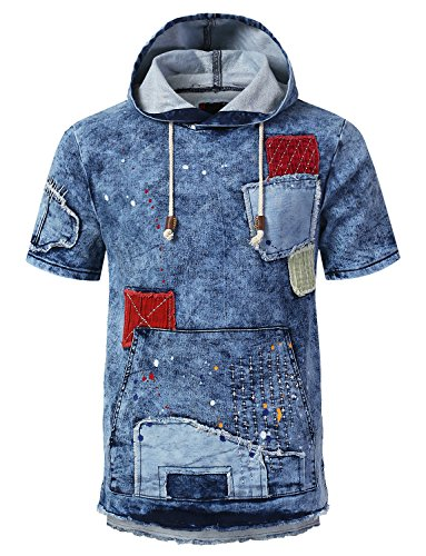 URBANCREWS Mens Hipster Hip Hop Patched Denim Short Sleeve Hoodie LtBlue, M by URBANCREWS