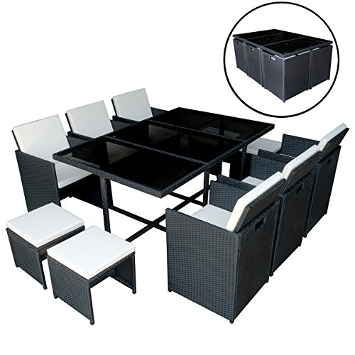 MCombo 11 pcs Luxury Black Wicker Patio Indoor Outdoor Dinner Dining Table Chair Furniture set 6089-0641