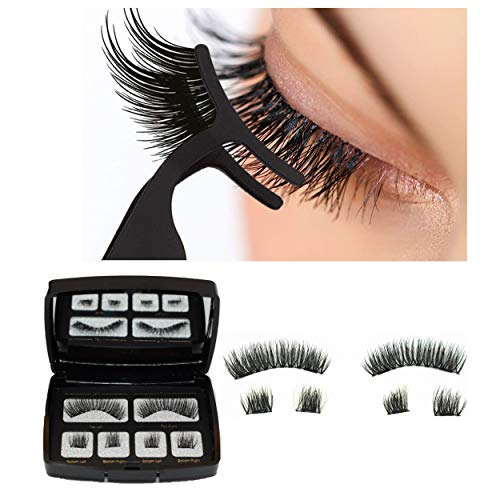 Magnetic False Eyelashes 3D Magnets Full Eyes Dual Magnets,Elisabeh Ultra Thin Reusable Fiber Dual Magnetic Eyelashes with Mirror and Stainless Steel Tweezers