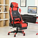 GreenForest Office Gaming Chair Ergonomic Computer Chair Tilting Lock Function PU Leather High Back Headrest Footrest and Lumbar Pillow, Red For Sale