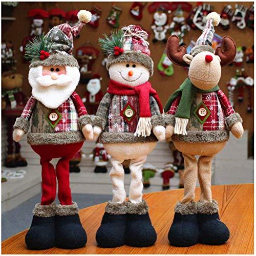 LQT Ltd 3pcs/Set Christmas Tree Decor New Year Ornament Reindeer Snowman Santa Claus Standing Doll Home Decoration Merry Christmas Height 48cm